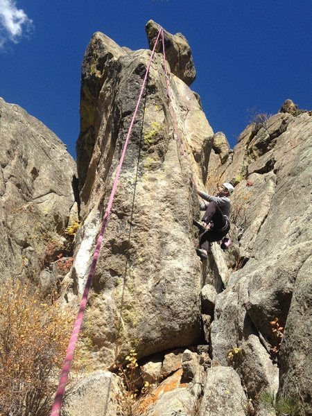 Rock Climbing Photo: Mike follows Ear Rings. Easy Crack lies right of M...