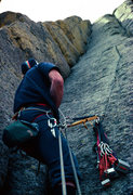 Rock Climbing Photo: Belay on Soler, Nice rack from 1980's