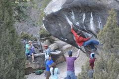 Rock Climbing Photo: Chuck sticks the long move on his RP burn.
