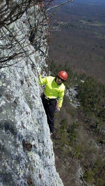 Gail topping out on Westward Ha.  Photo by Seth