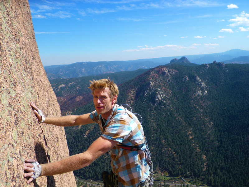 Devan after two trips up Cynical Pinnacle.