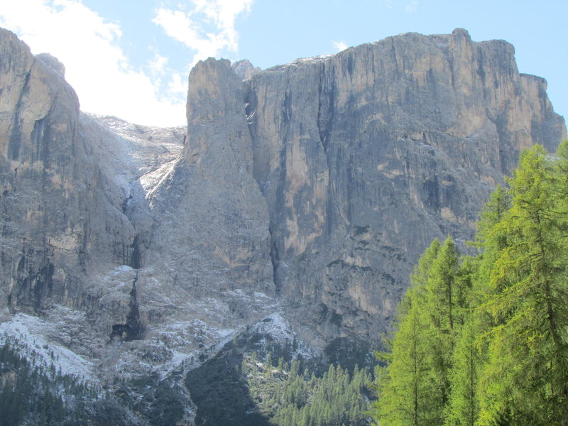 Northern ramparts of the Sella Group, with the prominent Exnerturm.