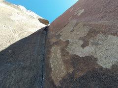 Rock Climbing Photo: The crux stemming corner on pitch 2.
