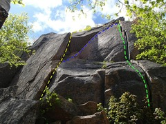 Rock Climbing Photo: bartlby yellow, sweet surrender blue, crack of sen...