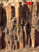Rock Climbing Photo: Buck Up topo. Buck Nasty in yellow.