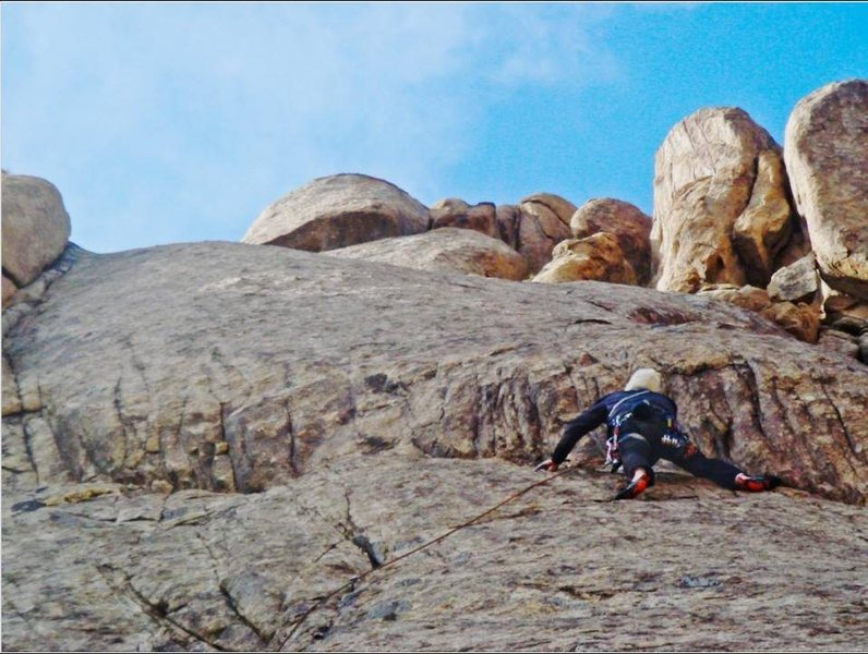 Rock Climbing Photo: Approaching the anchors of the third pitch.