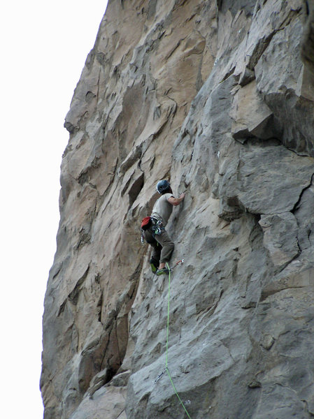 Nate Page at the crux below bolt 12.
