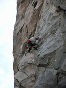 Rock Climbing Photo: Nate Page pulls a move on the way to bolt 11. Kind...