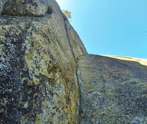Rock Climbing Photo: The upper half of the route from the bolted anchor