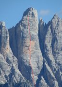 Rock Climbing Photo: Carlesso-Menti Route sketch; many possible lines e...