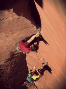 Rock Climbing Photo: Crux Pitch on Moonlight Buttress. OS free-attempt ...