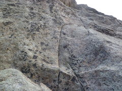 Rock Climbing Photo: The upper bolt and the crux area.