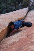 Rock Climbing Photo: Nathan leading Handbone