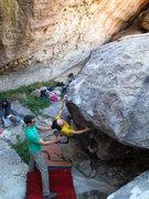 Rock Climbing Photo: Linda having just reached the lip.