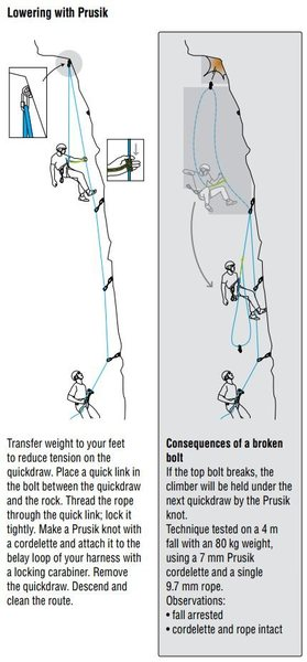 Technique for lowering off of a single, fixed protection point (image from Petzl)