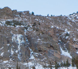 The one we climbed—a long, thin flow left of the prominent gully.
