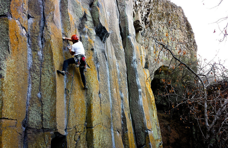 Rock Climbing Photo: Micha taking the Snake by the neck and bites it ba...
