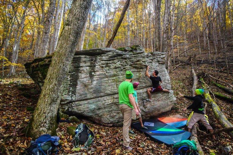 "Rock Climbing Photo: Dylan Honig sending ""Secret Squirrel"" (V..."