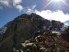 Rock Climbing Photo: Near the top of Mount Morrison on the NW Ridge.