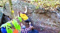 Rock Climbing Photo: Into a 3 finger pocket.