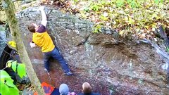 Rock Climbing Photo: Top out on sloper.