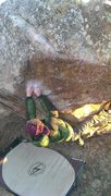 Rock Climbing Photo: Kyle into matching a sloper on Can We Get Started....