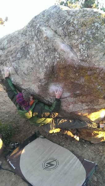 Rock Climbing Photo: Kyle making the move to the second sloper loaf.