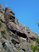 Rock Climbing Photo: West face route follows red line