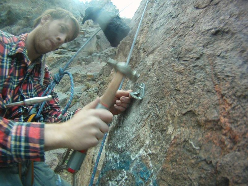 Rock Climbing Photo: Putting in another bolt on a new climb in Area 2. ...