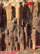 Rock Climbing Photo: Topo of central section of Upper Wall Photo courte...