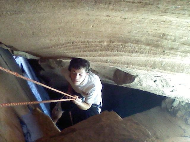 Rapping back down the cave route.