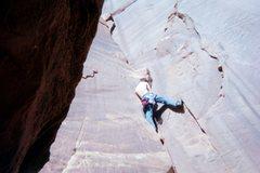 "Rock Climbing Photo: Jonah leading ""Right of Lieback""."