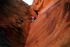 "Rock Climbing Photo: Me leading ""Rusty's Cave""."