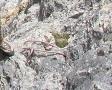 Rock Climbing Photo: Tied-off Sanduhr for natural protection.