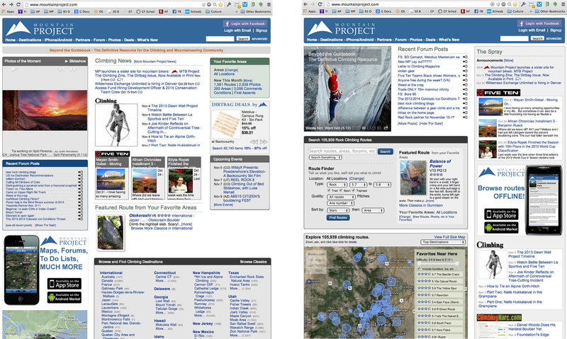 MP home page: old on left, new (Nov 5, 2013) on right.