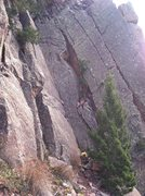 Rock Climbing Photo: Left side of Cadillac Crag. Dihedral above person ...