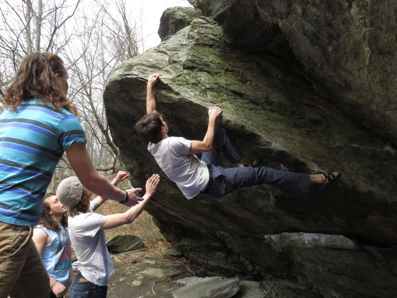 Rock Climbing Photo: Finishing up on Quiet Buddhist with some support