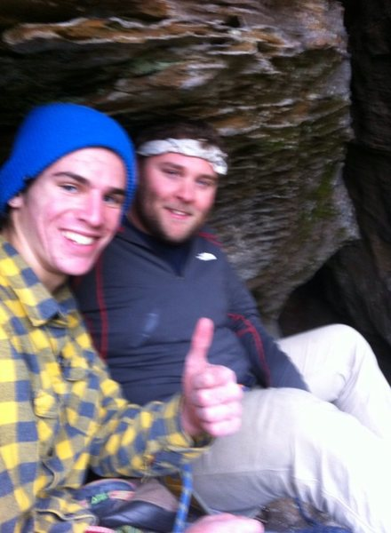 Gabe and Phil resting on a ledge on Caver's Route