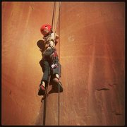 Rock Climbing Photo: My 7 yr olds first mock trad lead!