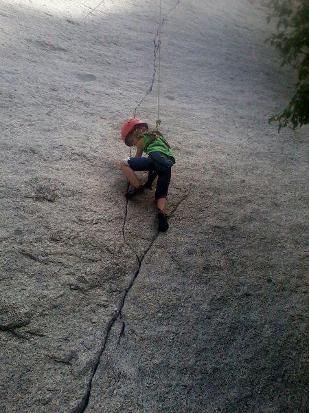 Rock Climbing Photo: My 5 yr old cruising up Green A (LCC, UT)