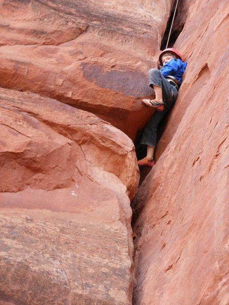 Rock Climbing Photo: My 7 yr old on Craig Leubbens Offwidths Are Beauti...