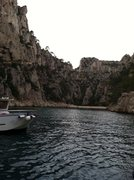 Rock Climbing Photo: A view of the Calanques d'En Vau on a gloomy day. ...