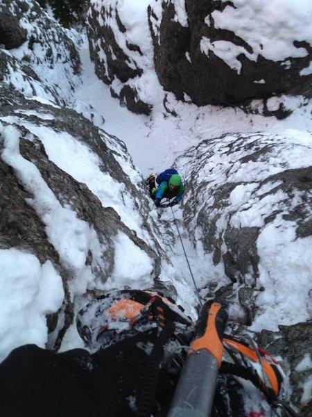 Rock Climbing Photo: Grover Price, pitch 3. Nov. 3, 2013.