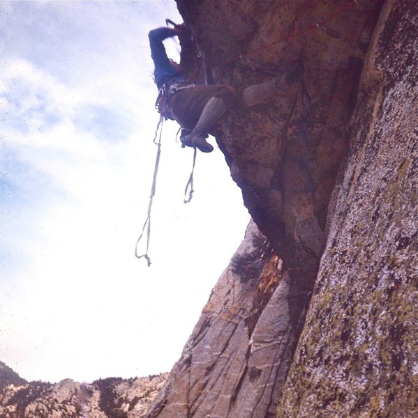 Before it was free climbed ~ Phil Gleason aiding 'Le Toit' on an early ascent ca 1966.