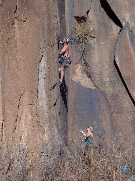 Rock Climbing Photo: Josh starts up Title 9. December 2012.