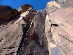 Rock Climbing Photo: Finishing up the thin hands of Title 9. December 2...