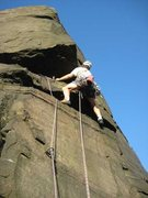 Rock Climbing Photo: About to move right round the overlap on Himmelswi...