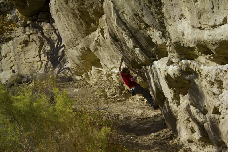 Jared midway through the first and most difficult crux on The Rockshop Traverse.