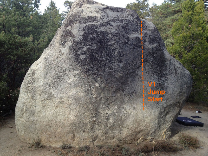 Rock Climbing Photo: The jump start. Use the rounded bulge at the botto...