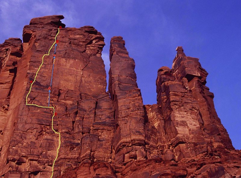 The route shown by the blue arrows might be a higher quality way to access pitch 4 and 5's stellar OW on 'Dolomite Wall'.